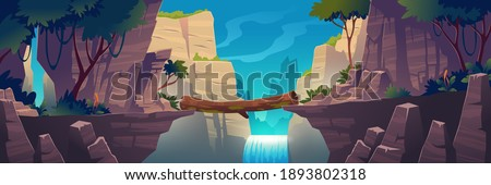 Log bridge between mountains above cliff in rock peaks landscape with waterfall and trees background. Beautiful scenery nature view, beam bridgework connect rocky edges, Cartoon vector illustration