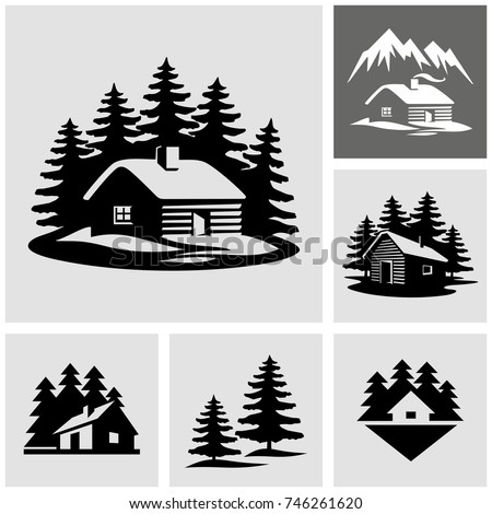 Shutterstock Log cabin in the woods vector icon