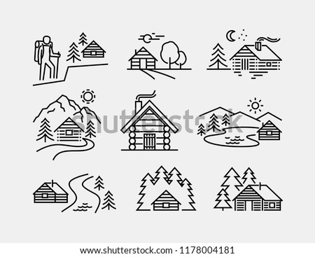 log cabin vector line icons