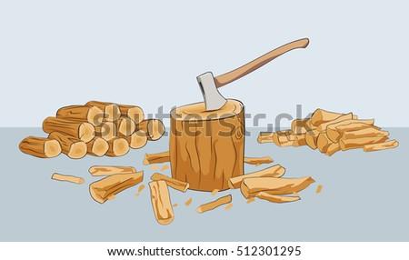 log chopping wood stack of
