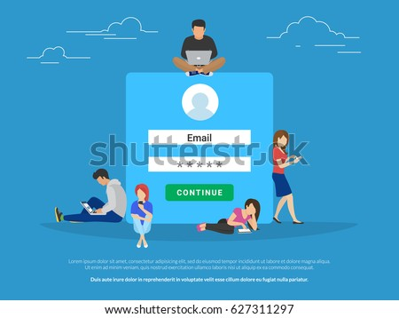 Log in form concept illustration of information security and access to social networks accounts and personal data. Flat young people using mobile devices such as laptop, smartphone and digital tablet