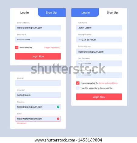 Log in, sign up web forms with the detailed description. Vector design. Pop up with buttons and inputs.