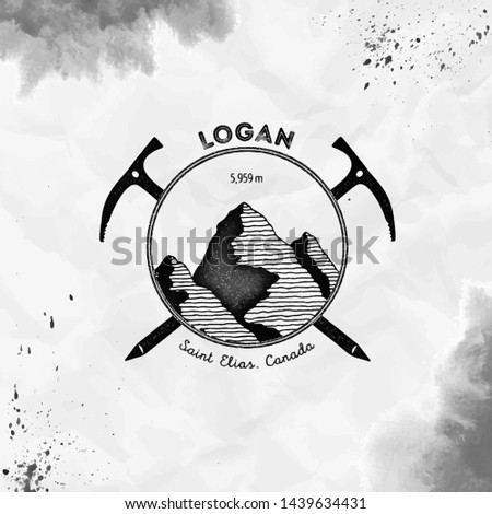 Logan logo. Climbing mountain black vector insignia. Logan in Saint Elias, Canada outdoor adventure illustration.