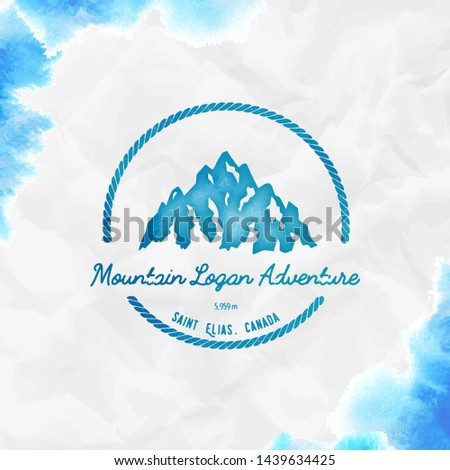 Logan logo. Round hiking turquoise vector insignia. Logan in Saint Elias, Canada outdoor adventure illustration.