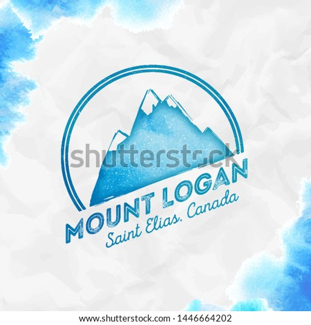 Logan logo. Round mountain turquoise vector insignia. Logan in Saint Elias, Canada outdoor adventure illustration.