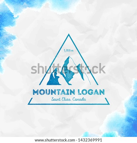 Logan logo. Triangular mountain turquoise vector insignia. Logan in Saint Elias, Canada outdoor adventure illustration.