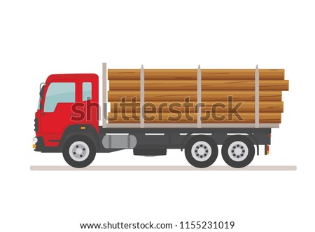 Logging truck on the road. Isolated on white background. Wood production and forestry. Vector illustration.
