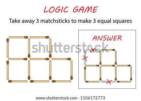 Logic game for kids. Puzzle game with matches. Take away 3 matchsticks to make 3 equal squares.