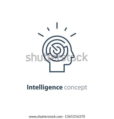Logic games concept, creative thinking, head maze line icon, mind labyrinth, mental work, strategic thinking, psychology vector logo