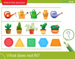 Logic puzzle for kids. What does not fit? Flower watering cans. Cactuses. Geometric shapes: polygons.  Matching game, education game for children. Worksheet vector design for preschoolers.