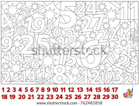 Logic puzzle game. Find the numbers hidden in the picture and paint them. Worksheet page for children and adults. Vector image.