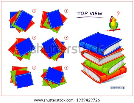 Logic puzzle game for children and adults. 3D maze. Need to find correct top view of books. Printable page for brain teaser book. Developing spatial thinking skills. IQ test. Flat illustration.
