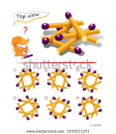 Logic puzzle game for children and adults. 3D maze. Need to find correct top view of matchsticks. Printable page for brain teaser book. Developing spatial thinking skills. IQ test. Play online.