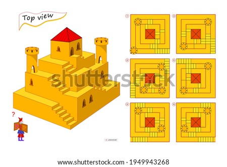 Logic puzzle game for children and adults. 3D maze. Need to find correct top view of tower. Printable page for brain teaser book. Developing spatial thinking skills. IQ test. Flat illustration.