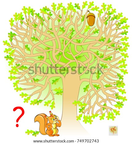 Logic puzzle game with labyrinth for children and adults. Help the squirrel find the way to the acorn. Vector image.