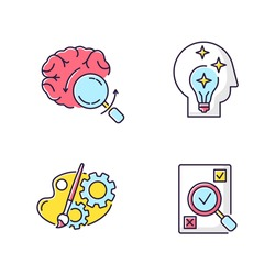Logical mind RGB color icons set. Brainstorming for project. Idea generation. Analytical mindset. Fresh insight. Creative process. Evaluation and assessment of task. Isolated vector illustrations