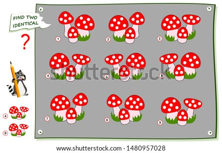 Logical puzzle game for children and adults. Find two identical images of mushrooms. Printable page for brainteaser book. Developing kids spatial thinking skills. IQ logic brain training test.