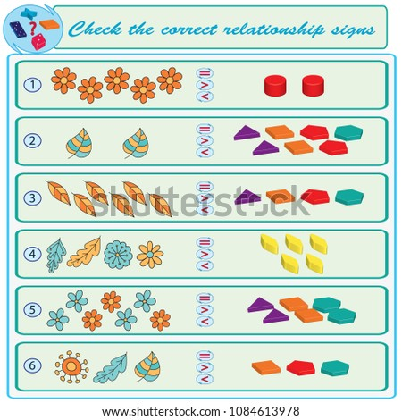 Logical task. Check the correct relationship signs. Vector illustration