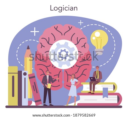 Logician concept. Scientist systematicly studying logical challenges and solutions. Thinking process, the systematic exposition of the logical forms. Isolated vector illustration Stock photo ©