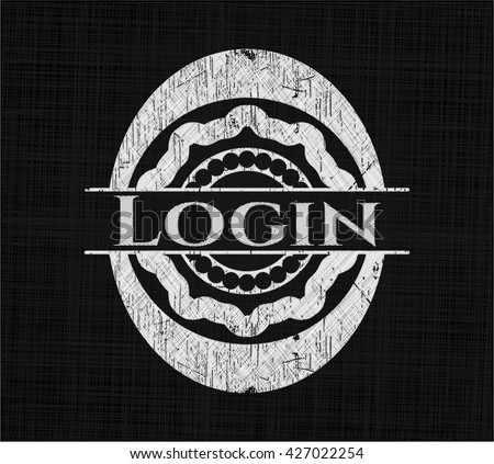 Login chalkboard emblem on black board