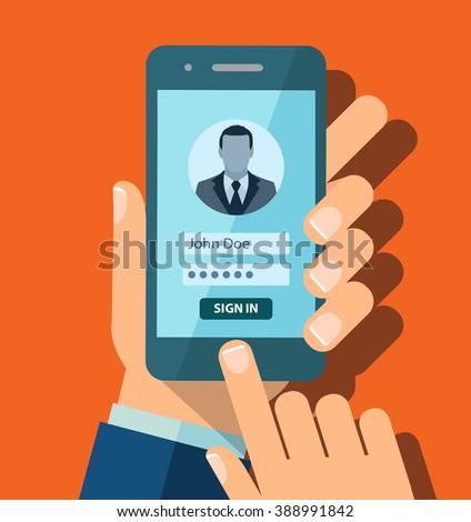 Login form illustration. Flat design. Login form on phone screen illustration concept.