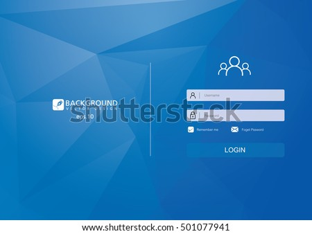 Login form menu with simple line icons. Low poly background. Website element for your web design