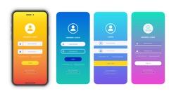 Login form page template set on gradient background for app development, smartphone mockups, website ui elements, online login form, registration, user profile, access to account. Vector 10 eps