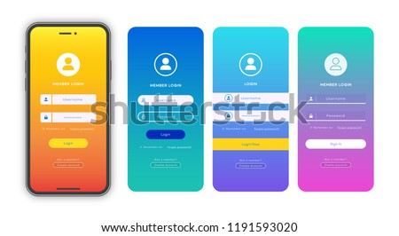 Login form page template set on gradient background for app development, smartphone mockups, website ui elements, online login form, registration, user profile, access to account. Vector 10 eps