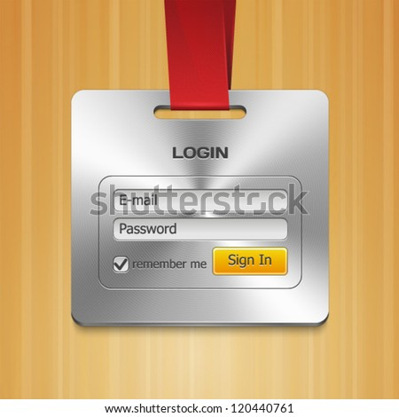 Login Form Page with Brushed Metal Badge