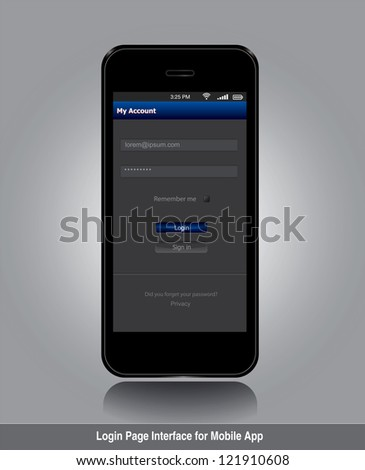 Login page interface for mobile app in editable vector format