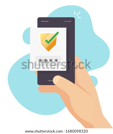 Login password verification code push message or sms for 2fa authentication with shield icon in mobile phone or smartphone screen vector flat cartoon modern design, two factor or multi factor idea