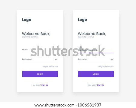 Login screen and Sign In form template for mobile app or website design. UI, UX, user interface kit, smartphone application design. Flat and minimal style.
