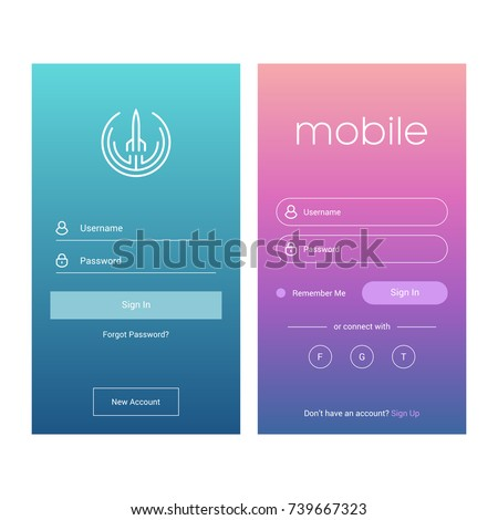 Login screen and Sign In form template for mobile app or website design. UI, UX, user interface kit, smartphone application design. Flat and minimal style