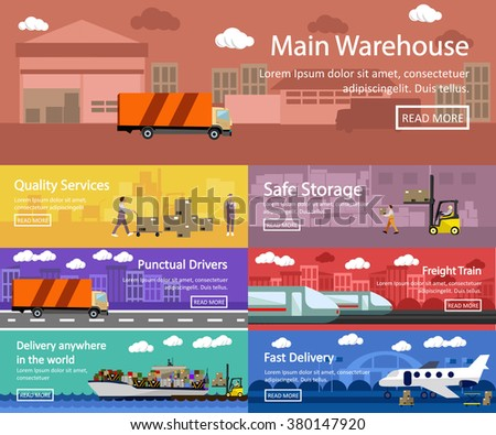 Logistic and transportation concept flat banners. Vector set of truck, ship, train and air transport delivery and shipping. Warehouse service.