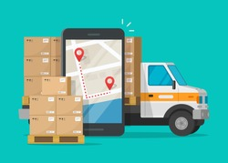 Logistic cargo mobile courier or freight delivery service transportation vector, flat cartoon truck automobile with warehouse parcel packages and cellphone or phone city map pin track
