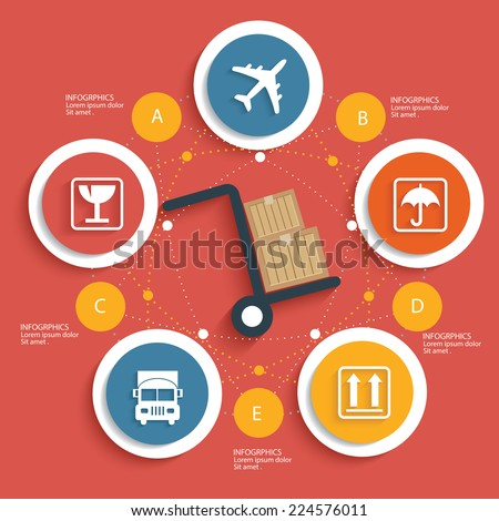 Logistic concept on red background,clean vector