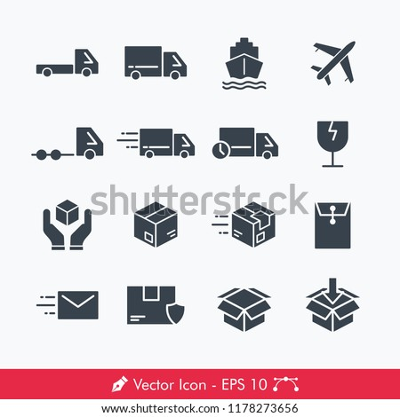 Logistic (Delivery) Related Icons / Vectors Set | Contains Such car, truck, pickup, delivery, box, plane, ship, document, fragile, handle with care, heavy truck, send, sent. package and more