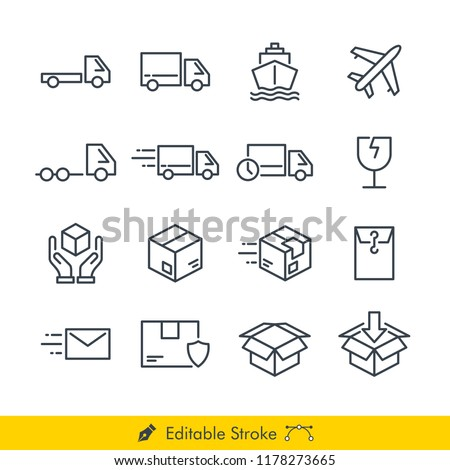 Logistic (Delivery) Related Icons / Vectors Set - In Line / Stroke Design   Contains Such car, truck, pickup, delivery, box, plane, ship, document, fragile, handle with care, heavy truck, send, sent.