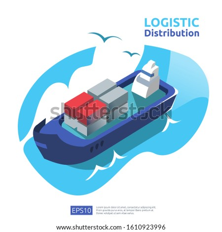 logistic distribution cargo service concept. global delivery worldwide import export shipping banner for web landing page, presentation, social, poster or print media illustration