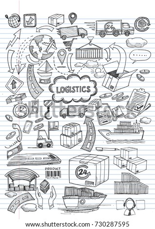 Logistic hand draw on lined notebook paper