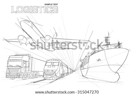 logistic in line drawing style on white background,logistics background