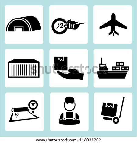 logistic management icon set, shipping icon set
