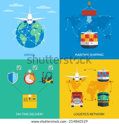 Logistic network airmail maritime shipping on-time delivery flat icons set isolated vector illustration