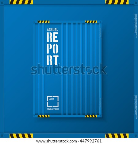 Logistic transport business corporate Identity Templates for flyers brochure. Annual report cover abstract style on container background in a4 size. Cargo logistic industry.  Vector Illustration.