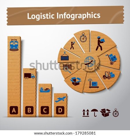 Logistic transportation service cardboard infographics elements for charts and graphs vector illustration