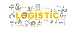logistic vector banner design concept, flat style with thin line art logistic icons on white background