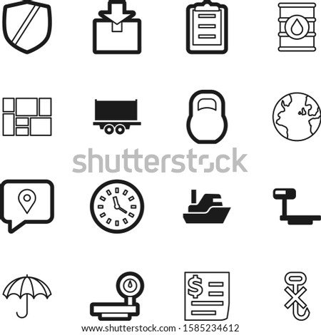 logistic vector icon set such as: clock, globe, transparent, item, meteorology, tank, internet, weather, retro, watch, gram, import, trailer, boat, money, yacht, list, pay, do, communication, kg