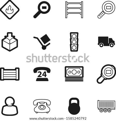 logistic vector icon set such as: desk, emblem, semaphore, ton, goods, hot, shop, traffic, tax, yellow, kg, wheelbarrow, stack, simple, supermarket, highway, drop, automobile, communication, strength