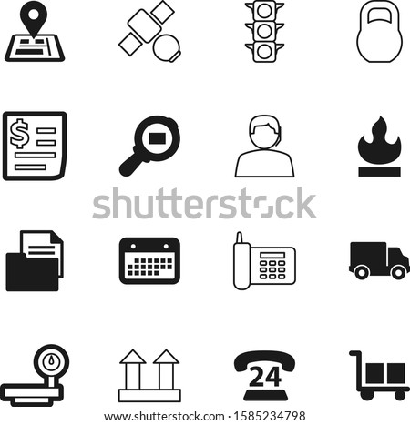 logistic vector icon set such as: journey, health, iron, cart, retro, order, smart, gps, pin, time, scale, website, kg, decoration, work, travel, flame, telephony, magnifying, date, outline, hours