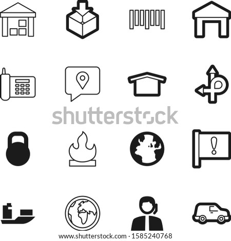 logistic vector icon set such as: ton, hot, help, fire, problem, device, barcode, opposite, flame, data, warm, traffic, contact, kilogram, sell, freight, heavy, city, operator, scanner, exclamation